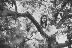 Child Childhood Children Happiness Concept. Child smile on tree branch, childhood Stock Photos