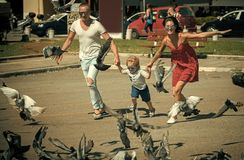 Child Childhood Children Happiness Concept. Happy family spend time together, urban background. Parents with son running. Near doves, chasing pigeons, happy boy stock images