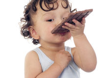 Child with chocolate. Royalty Free Stock Photo