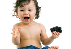 Child with chocolate. Stock Photo