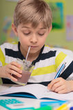 Child and chocolate milk Royalty Free Stock Photo