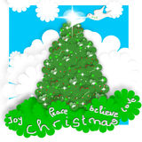 Child Christmas Cards, tree and peace dove Royalty Free Stock Photos