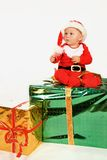 Child in christmas dress Stock Photo