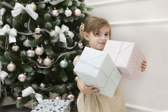 Child and Christmas Royalty Free Stock Images