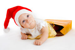 Child in christmas hat Royalty Free Stock Images