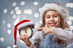 Child in a Christmas hat Royalty Free Stock Images