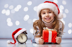 Child in a Christmas hat Royalty Free Stock Photo
