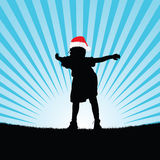 Child with christmas hat silhouette illustration. Child with christmas red hat silhouette illustration Royalty Free Stock Image