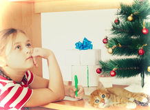 Child and Christmas Royalty Free Stock Photography