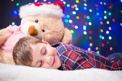 Child and Christmas lights Royalty Free Stock Photo