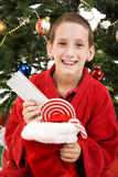 Child on Christmas Morning Royalty Free Stock Photo