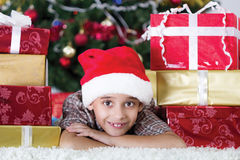 Child in Christmas night Stock Photo