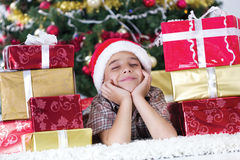 Child in Christmas night Royalty Free Stock Photography