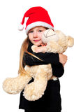 Child Christmas Teddy Stock Image