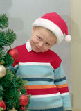 Child and christmas tree stock images