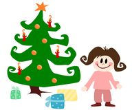 Child with christmas tree Stock Image