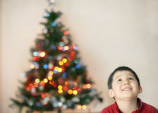 Child with christmas tree blurred light background Stock Photo