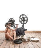 Child and cinema Royalty Free Stock Image
