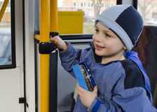 Child on city bus Stock Image