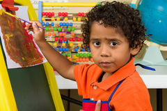 Child in Classroom Painting Royalty Free Stock Image
