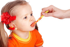 Child clean brush one's teeth. Stock Photos