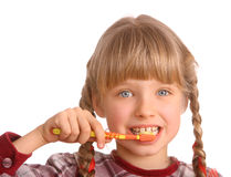 Child clean brush one's teeth. Royalty Free Stock Image