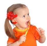 Child clean brush one's teeth. Royalty Free Stock Photo