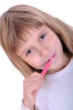 Child cleaning teeth Stock Photos