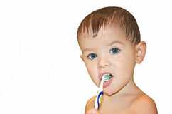 Child cleans teeth a tooth brush Stock Photography