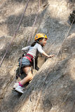 Child climbing, Alps, Arêches Royalty Free Stock Image