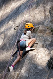 Child climbing, Alps, Arêches Royalty Free Stock Images