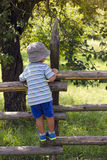 Child climbing the fence Royalty Free Stock Photo