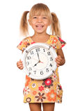 Child with clock Stock Images