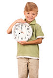 Child with clock Royalty Free Stock Images