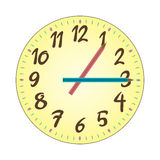 Child Clock Illustration. Illustration of a colorful wall clock for children. The hour and minute pencils could be rotated (on the vector file) to represent any Royalty Free Stock Images
