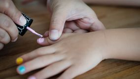 2018 Child Closeup Colour Day Fashion Finger Girl Hand Indoor Ki. Ds Learning Mom Nail Polish People Pink Stock Photography