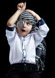 Child closeup steampunk. On black background Stock Photo