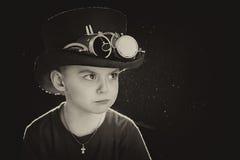 Child closeup steampunk. On black background Royalty Free Stock Photo