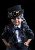 Child closeup steampunk. On black background Royalty Free Stock Images