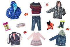 Child clothes isolated. Collage set of children clothes isolated stock image