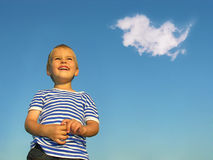 Child with cloud royalty free stock photography