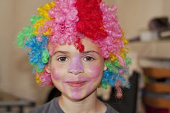 Child with clown wig Royalty Free Stock Photography