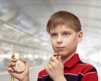 Child-coach trains the team Stock Photo