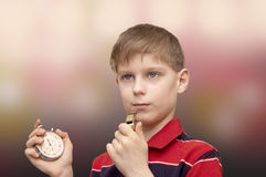 Child-coach trains the team Stock Image