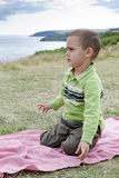 Child on coast walk Stock Photo