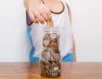 Child collect saving money for the future. Child collect saving money for the a future royalty free stock images