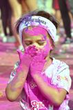 Child, Color run, like, dero, make up, girl. Child runner, color runer , dero, make up Stock Photography
