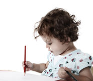 Child with colored pencils Royalty Free Stock Photography