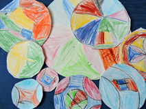 Child colorful painted mandalas Royalty Free Stock Photo