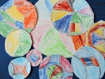 Child colorful painted mandalas Royalty Free Stock Photo